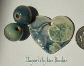Porcelain Hydrangea Nastertium Leaf Heart Pendant with Porcelain Beads