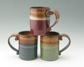 Stoneware Coffee Mug Made to Order - Pottery Cafe Style Beer Mug, Ceramic 16 oz Soup Mug, Beverage Mug, Decorative Color Choices