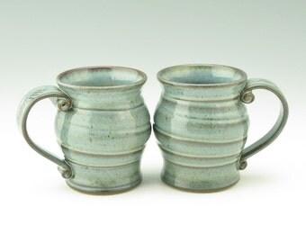 Pottery Coffee Mug Singles - Handmade 16 oz Spiral Pot Belly Beer Mug - Large Blue Mist Stoneware Soup Mug for Home or Office