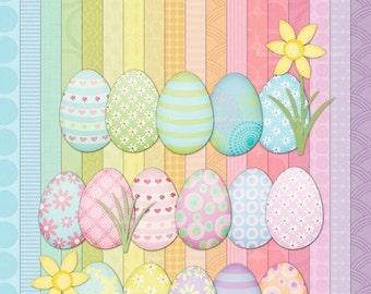 Pastel Easter Egg Clip Art and Textured Digital Paper set for Invites, cards, scrapbooking
