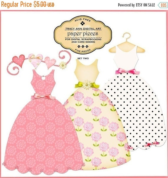 Paper Pieced Dresses for digital scrapbooking, invites, cards and paper crafting. Commercial use