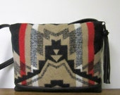 Wool Cross Body Bag Purse Shoulder Bag Black Leather Native American Print from Pendleton Oregon Southwest Style