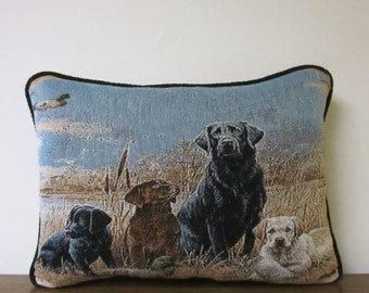 Dog Pillow Puppies Lab Black Lab Golden Lab Chocolate Lab Tapestry Pillow Man's Best Friend Pillow