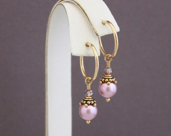 Clip on hoop earrings, Powder Rose and Antique Pink