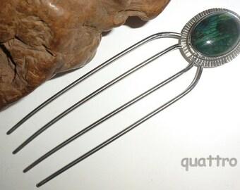 Hair Fork by Quattro - Mini-4 - Labradorite