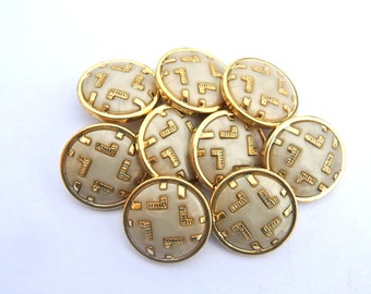 6 Vintage plastic buttons white with gold color trim 18mm