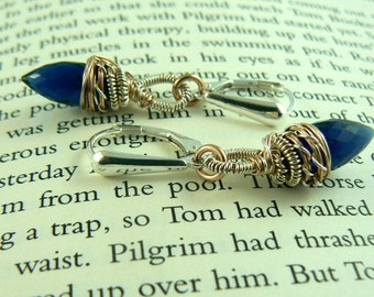 Rose Gold Filled/Sterling Silver Kyanite Blue Quartz Marquise Earrings