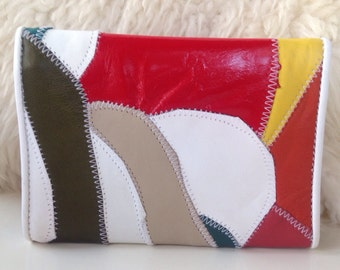 Vintage 80s retro leather patchwork wallet coin purse wallet brown red yellow bill fold