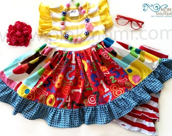 Back to School dress, First day of school, Numbers Shapes dress Momi boutique