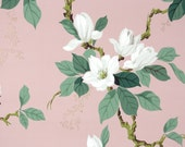 1950s Vintage Wallpaper by the Yard - White Magnolia with Climbing Branches on Mauve