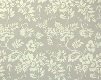 1950s Vintage Wallpaper by the Yard - Floral Wallpaper of Victorian Design with Cream Flowers on Gray