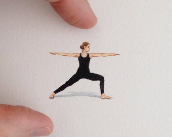 FRAMED Miniature Painting of warrior pose by Brooke Rothshank