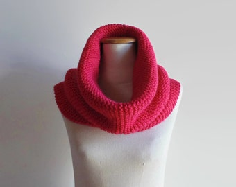 Woman Snood, Cowl Scarf, Pink Cowl, Circular Scarf, Wrap Scarf, Hand Knitted Cowl, Neck Warmer, Womens Cowl, Cute Cowl, Snood Scarf