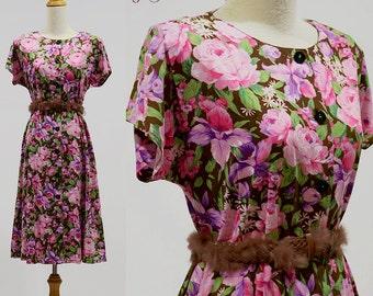 Vintage dress 70s 80s retro mod floral print hippie boho bohemian women cotton maxi sundress summer party day button shirt full skirt medium
