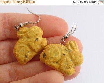 Christmas in July - Annie's Bunny Cookie Earrings, Bunny Earrings, Annies, Food Earrings, Food Jewelry Chocolate Chip Cookies