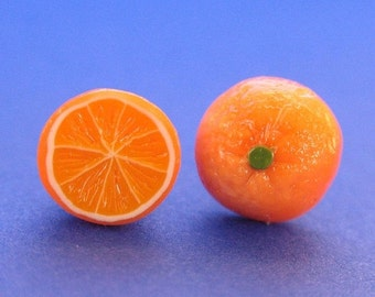 Christmas in July - Juicy Orange Stud Fruit Earrings, Food Jewelry, Fruit Earrings, Polymer Clay Food, Orange Earrings