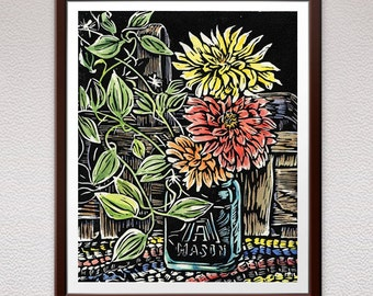 Flowers, Linocut Print, Block Print, Relief Print, Lino Cut Print, Birthday, Gift, For Him, For Her, Mother, Girlfriend, Gift Idea, Sister