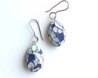 Blue,one of a kind, hand-carved, dangle earrings
