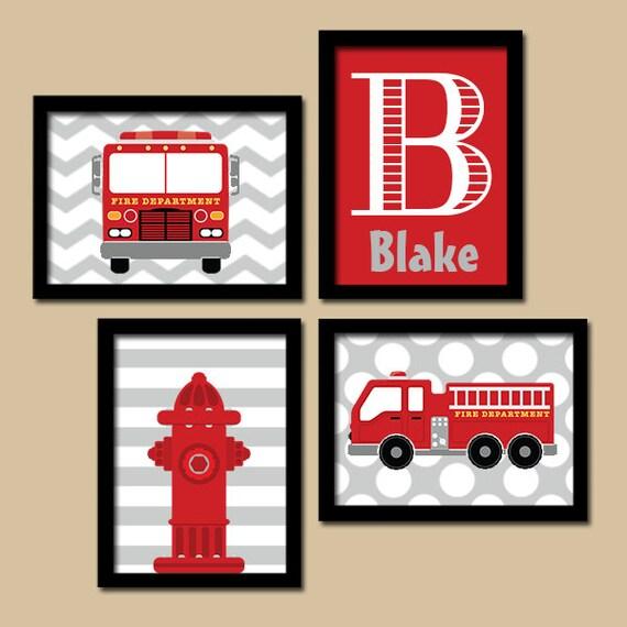 Broken Bedroom Door Fire Engine Bedroom Accessories Bedroom Before And After Makeover Warm Bedroom Colors And Designs: FIRE TRUCK Wall Art Fire Truck Nursery Decor CANVAS Or