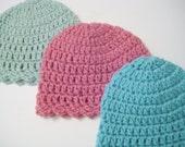 Baby Girl Hat, Hospital Beanie, Newborn Hat, Baby Girl Shower Gift - Honeydew, Raspberry, Aqua - Newborn - Toddler, Pick Color - Pick Size