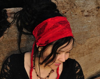 Hippie Headband, Festival Clothing, Red Headband, Dreadband, Dread Wrap, Dreadlocks, Intergalactic Apparel