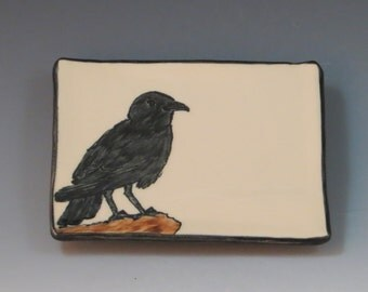 Handbuilt Ceramic Soap Dish with Bird - Crow