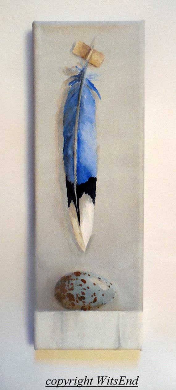Bird Feather Painting Blue Jay Egg Original Ooak Still Life