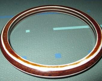 Vintage Wood and Plastic Laminated Layered Striped Bangle Bracelet
