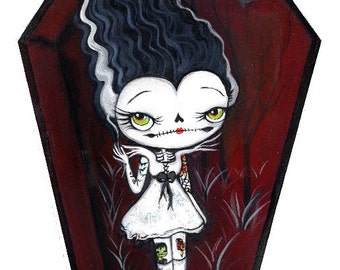 Bride of Frankenstein hand painted art on Cedarwood, Cute Coffin original painting 6 x 8