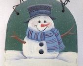 Painted Wood Snowman Dome Christmas Ornament, Snowman Shelf Sitter
