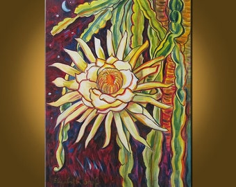 Night Blooming Cereus III -- 18 x 24 inch Original Oil Painting by Elizabeth Graf on Etsy -- Art Painting, Art & Collectibles