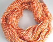 Leicester Longwool yarn, orange wool yarn, Leicester yarn, orange and cream yarn, wool yarn
