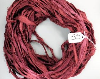 Sari Silk ribbon, Silk Sari Ribbon, recycled sari ribbon, Burgundy sari ribbon, silk ribbon, burgundy ribbon, weaving supply
