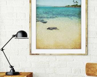 "Beach ocean photography print, Maui Hawaii teal aqua blue water tropical  beach coastal wall art ""West Side"""