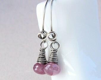 Pink Sapphire  Earrings Oxidized  Silver Gemstone Jewelry September  Birthstone  Gem Stone Drop Earrings  Sapphire  Jewelry Birthday Gift