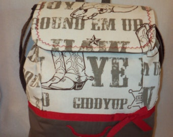 Western Cowboy Back pack or Cowgirl Giddy Up Large or xlg School book bag or diaper bag College personalize dad's diaper bag birthday gift