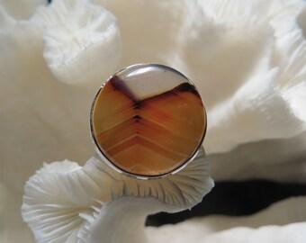 Beautiful Chevron Modern Montana Agate Ring Size 6