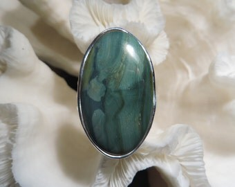 Beautiful Green Imperial Jasper Ring Size 8.5