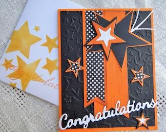 Handmade Congratulations Card: complete card, handmade, balsampondsdesign, gratuation, new business, award, handmade, orange, greeting card
