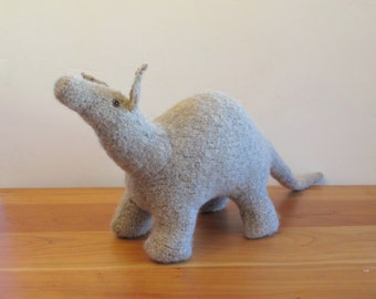 Aardvark Stuffed Animal, Handknit Plush, Handmade Fiber Art Sculpture