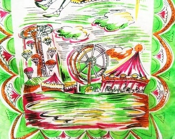Vintage Carnival County Fair Silk Scarf Ferris Wheel