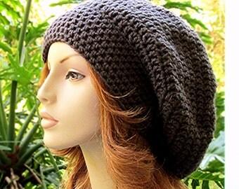 SLOUCHY Crochet GRAPHITE GRAY Hat  //  Womens Accessories  //  Rasta - Snood - Boho Hippie Wide Brim Hat  //  Unisex Hat...Ready-to-Ship