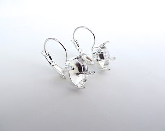 1 Pair Silver Plated Lever Back Earrings for Swarovski 12mm Rivoli 1122