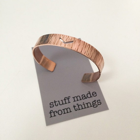 Copper Hammered Cuff with Chevron Design - Adjustable - Stacking - Stacker - Simple - Modern - Geometric - Bangle