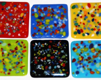 "Carnivale Custom Glass Tiles, 2"", Many Colors with Colorful Bits, Handmade to Order for your Kitchen or Bathroom. FREE Shipping"