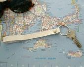White Leather Wristlet Key Fob, Summer Whites, 3rd Anniversary Gift, White Leather Keychain, Leather Key Fob, Handmade Nautical Key Fob