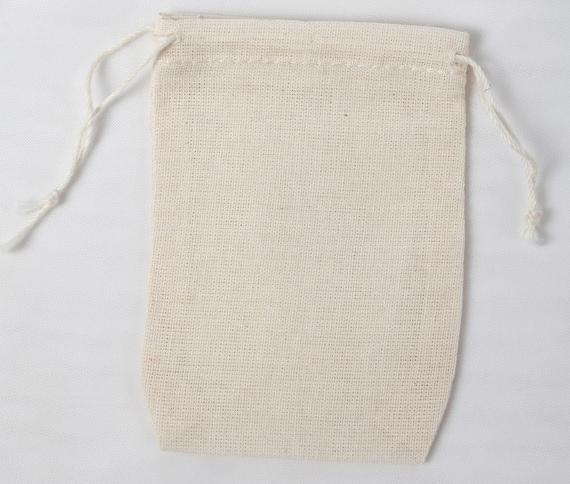 10 Mini 2 3/4 x 4 Cotton Muslin Double Drawstring Bags