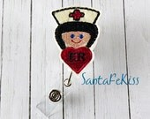 ER Nurse Retractable Felt Badge Reel with Retractable Badge Reel. A great gift for yourself or for your favorite nurse, coworker