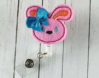 Bunny Felt Badge Holder with Retractable Badge Reel. A ID Badge Holder for yourself or for a favorite nurse or coworker