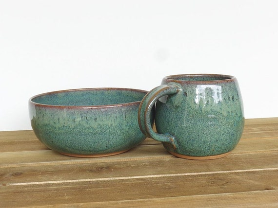 Ceramic Pottery Breakfast Set - One Cup and One Bowl in Sea Mist Glaze, Rustic Stoneware, Kitchen Pottery